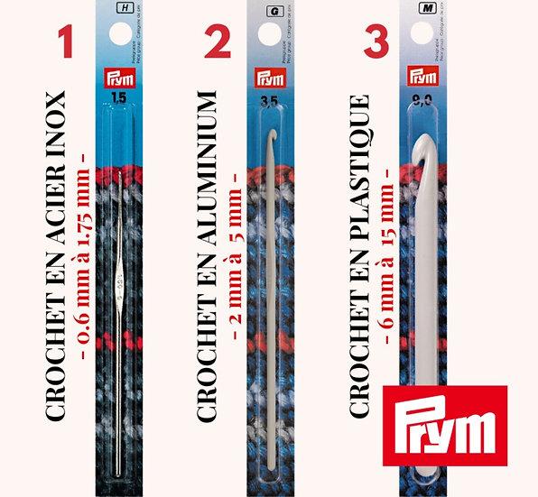 Crochet léger - PRYM - Plusieurs choix de tailles (0.6 mm à 15 mm)