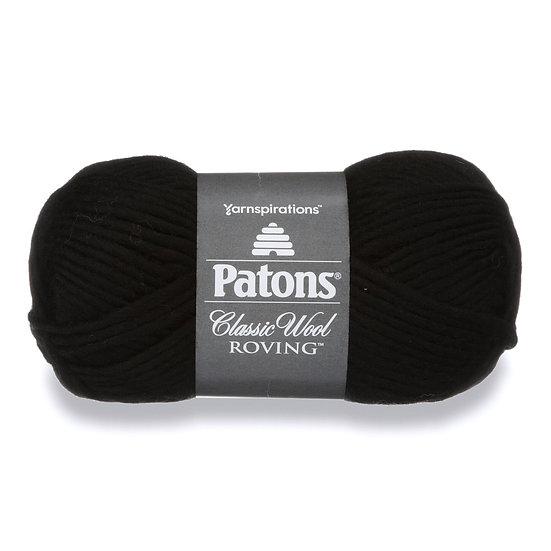 PATONS Classic Wool Roving - Noir - Laine vierge à feutrer - 6mm