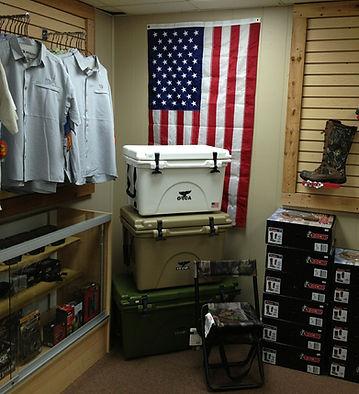 American Flag Orca Coolers USA Rocky Boots Binoculars Optics Knives WileyX Drake Shirts Dove Stools K & K Outdoors
