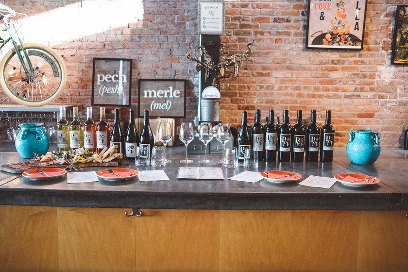 private wine tasting set up at the counter at Pech Merle Winery
