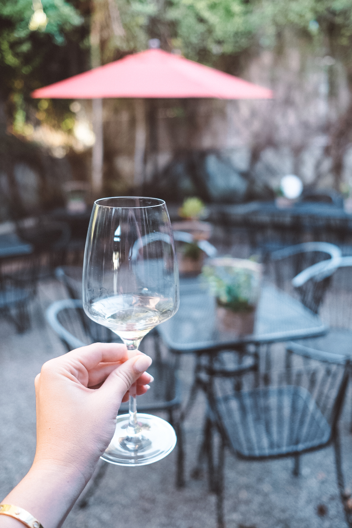 sipping white wine on the outdoor patio at Pech Merle Winery in Geyserville, California