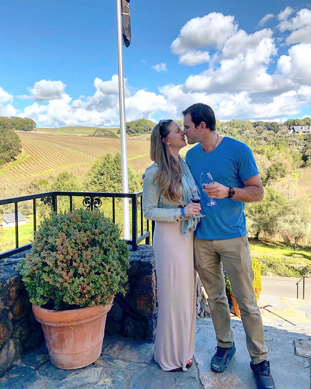 a couple enjoying a romantic wine tasting in Sonoma County, California