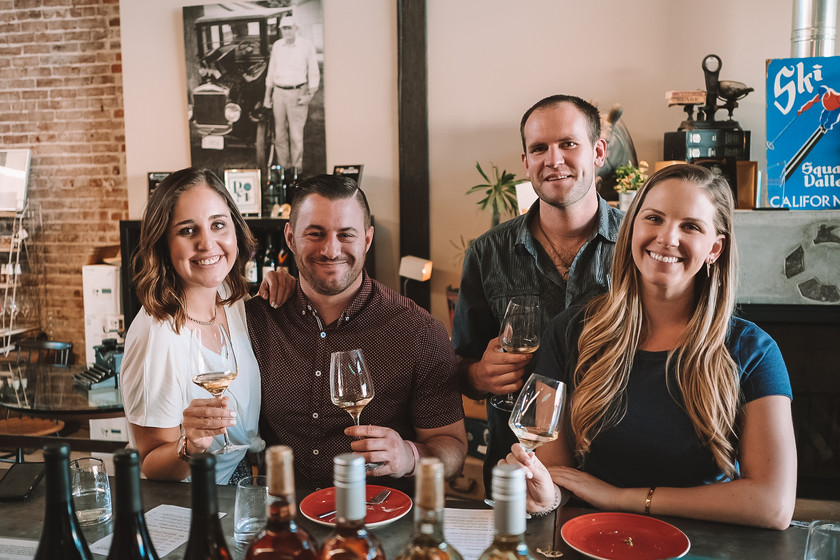 the four of us enjoying a private wine tasting at Pech Merle Winery in Geyserville, California