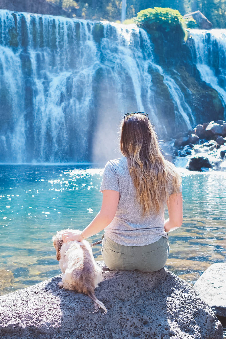 Blonde woman and her dog sitting in front of the middle falls at McCloud Falls in California
