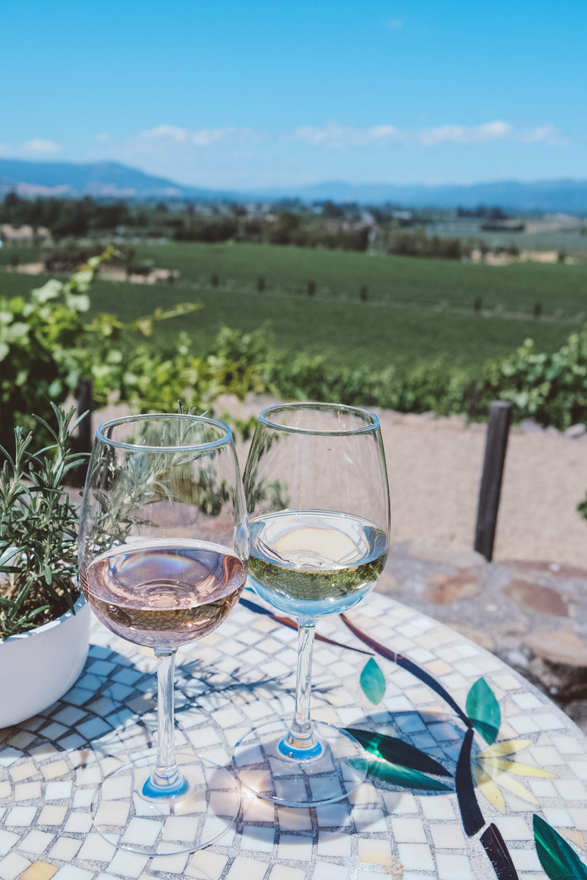 White wine and rose wine. Stunning views of California's Wine Country.