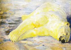 Убитый белый медведь. 1913