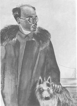 Профессор Г. JI. Ушаков начальник Северной Земли. Акварель. 1932