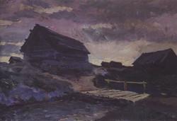 Пейзаж с избами. 1894
