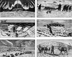 Рисунки Н.Пинегина о строительстве геофизической станции на о. Б.Ляховский