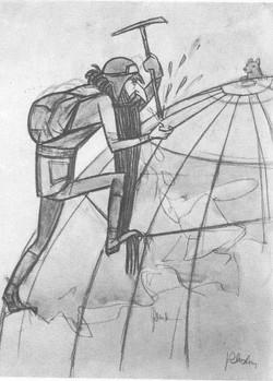 Шмидт на подступах к Северному полюсу. Карандаш, акварель. 1932.