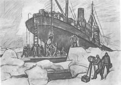 Ремонт «Сибирякова» во льдах. Уголь. 1932.
