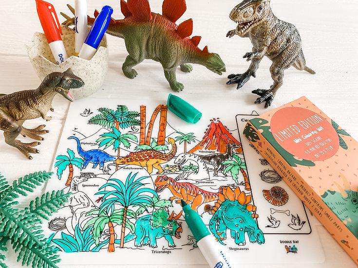 Fairy Story Theme Reusable Colouring Mat - Dinosaur