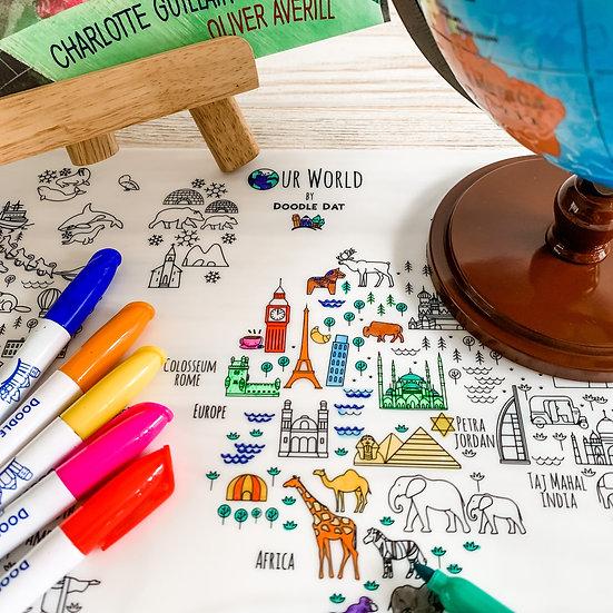 Reusable Colouring Mat A3 Size – World Map