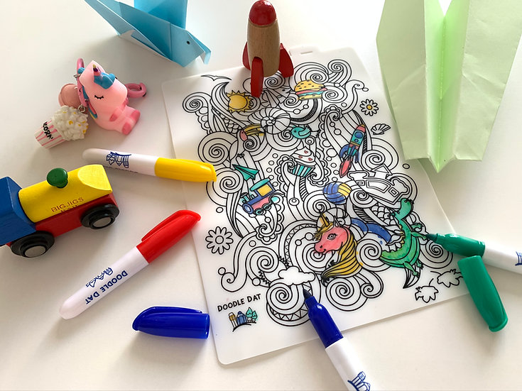 Party Pack Reusable Colouring Mat -Fantasy