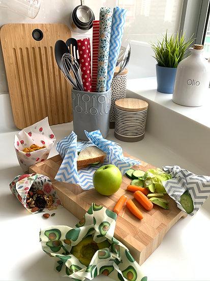 Beeswax Food Wrap | 4-Pk reusable wraps