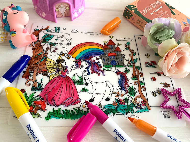 Fairy Story Theme Colouring Mats - Fairy