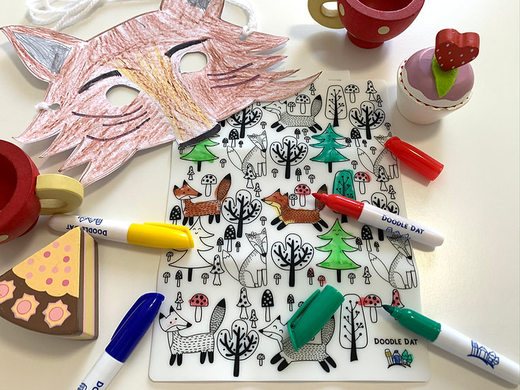 Party Pack Reusable Colouring Mat - Fox Tales