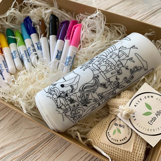 Reusable Colouring Gift Pack - 5 x A5 Mats + 12 pcs Pen set