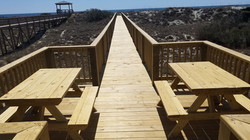 Private walkway with picnic tables