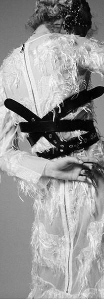 Le Mile magazine feathered silk jacquard dress