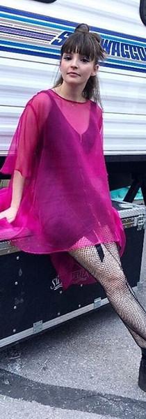 CHVRCHES on Jimmy Kimmel organza pink dress