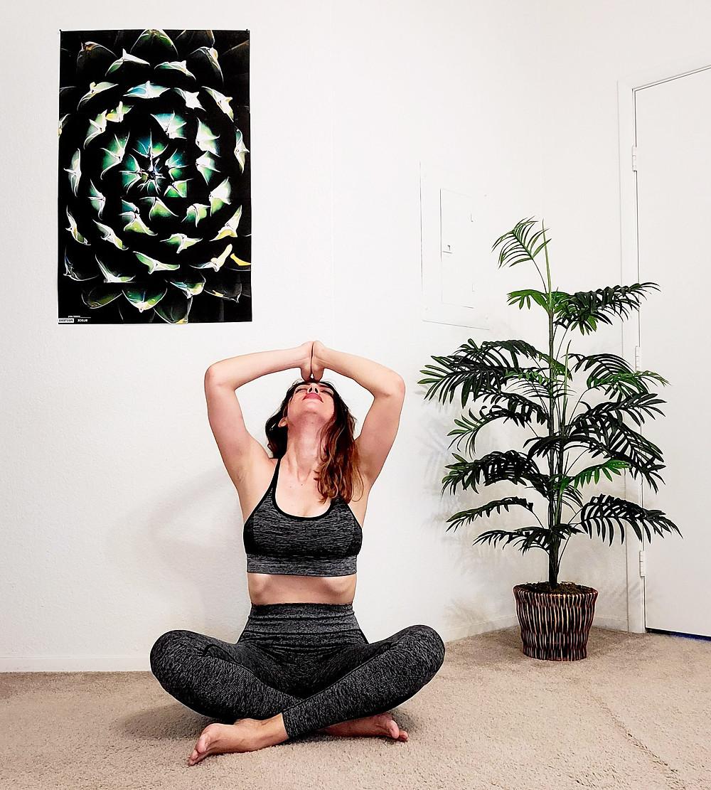Yoga girl, meditation, mandala