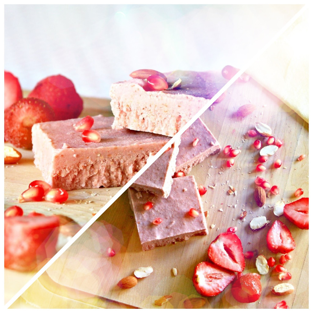 Pomegranate seeds intertwined with juicy strawberries in a swirl of delicately flavored almonds