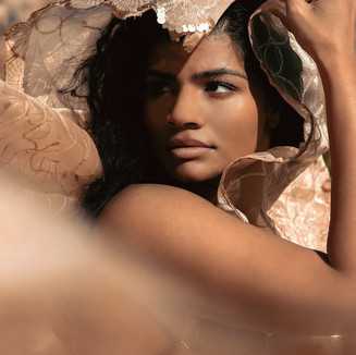 Flowy fabric desert outdoor female portrait