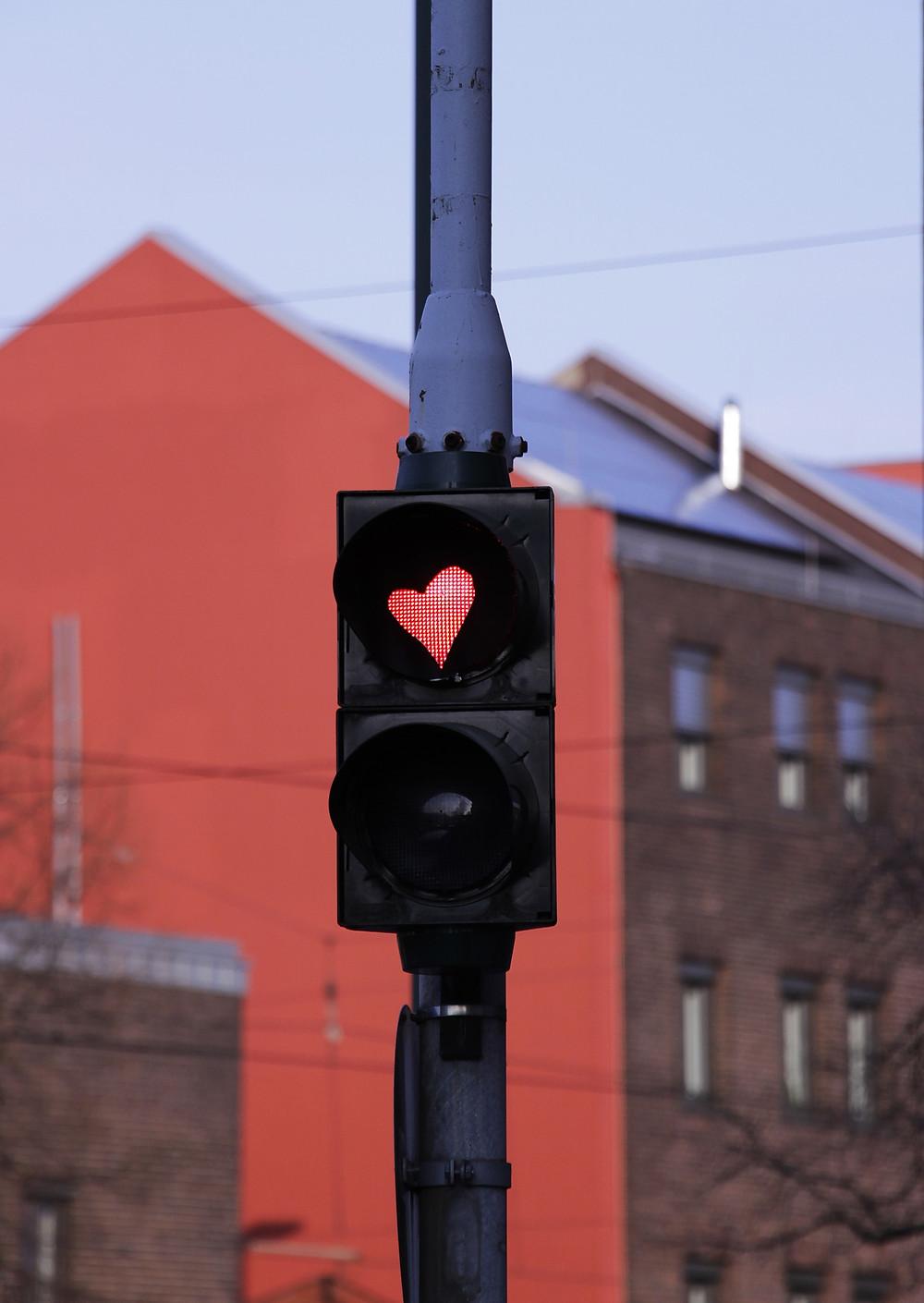 Love sign stop light heart