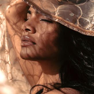 Golden hour model closeup portrait