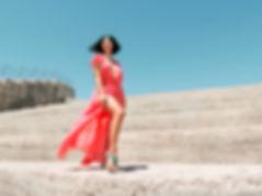 Model, girl, coral dress, Las Vegas Portrait Photographer, Desert fashion photoshoot