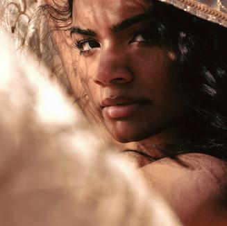 Golden desert female closeup portrait