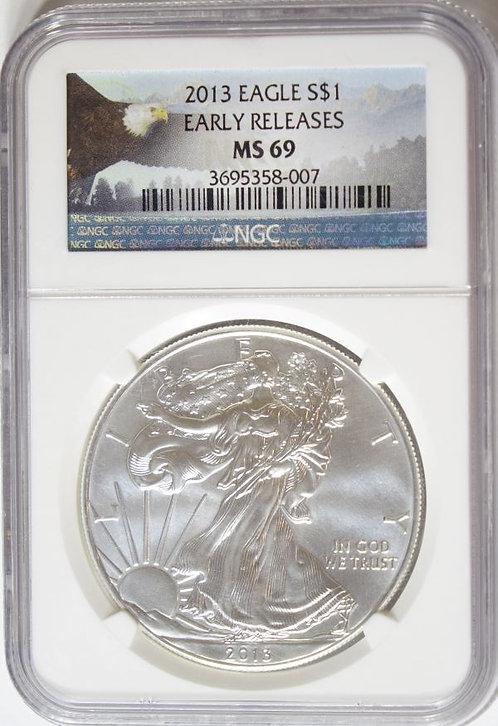 2013 1-oz American Silver Eagle NGC MS69
