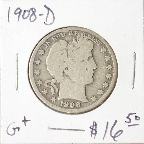 1908-D Barber Half Dollar in G+