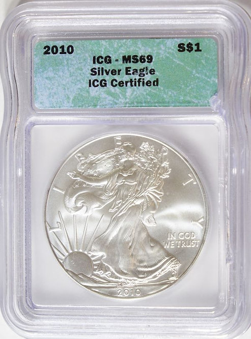 2010 1-oz American Silver Eagle ICG MS69