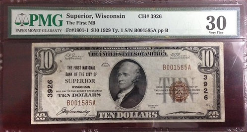 1929 $10 The First National Bank of the City of Superior, WI PMG VF30