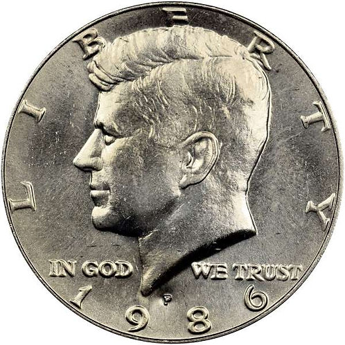 1986-P Kennedy Half Dollar in BU