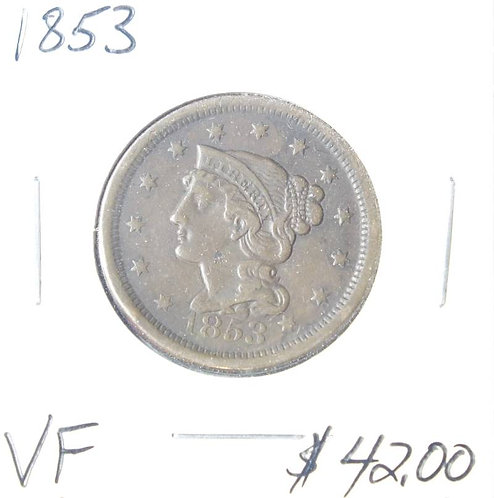 1853 Large Cent in VF