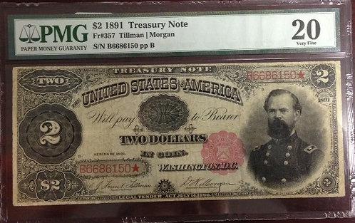 1891 $2 Treasury Note PMG VF20
