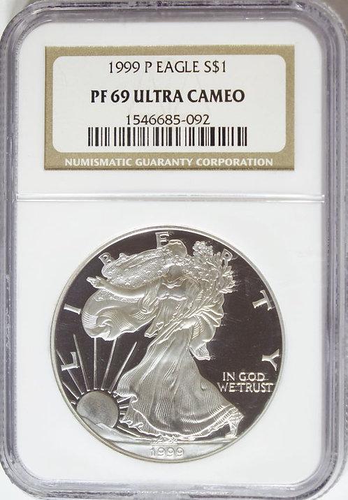 1999-P 1-oz Proof American Silver Eagle NGC PF69UCAM