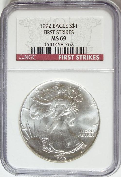 1992 1-oz American Silver Eagle NGC MS69