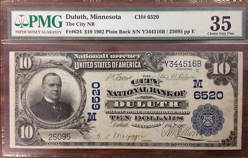 1902 $10 The City National Bank of Duluth, MN