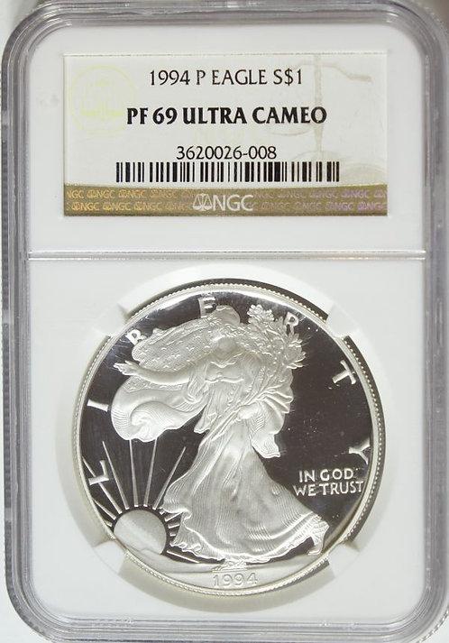 1994-P 1-oz Proof American Silver Eagle NGC PF69UCAM