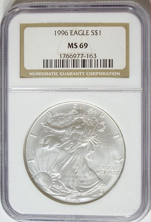 1996 1-oz American Silver Eagle NGC MS69 - KEY DATE