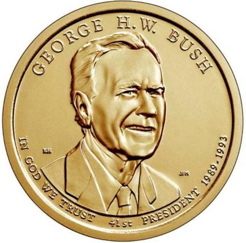2020-D George H.W. Bush Presidential Dollar in BU
