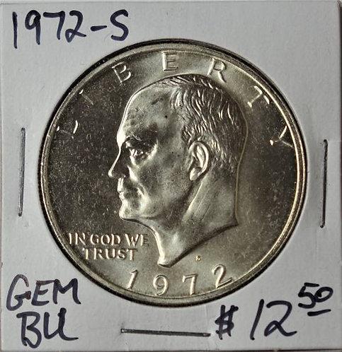 1972-S Eisenhower Dollar in GEM BU (40% Silver)