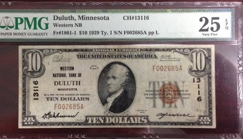 1929 $10 Western National Bank of Duluth, MN PMG VF25