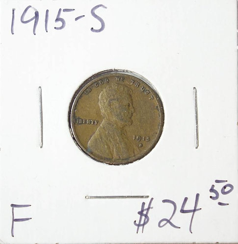1915-S Wheat Cent in F