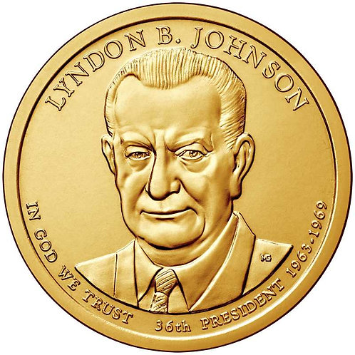 2015-D Lyndon Johnson Presidential Dollar in BU