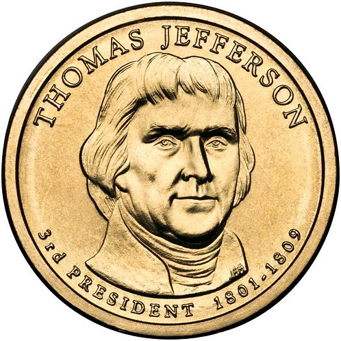 2007-D Thomas Jefferson Presidential Dollar in BU